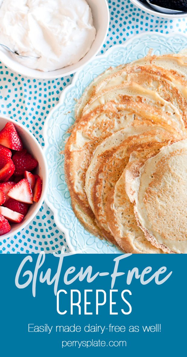 learn all the tips and tricks for making paper-thin, delicious crepes that are GLUTEN-FREE! They're easily made dairy-free as well and can be filled with your favorite sweet or savory things. | perrysplate.com #glutenfreerecipes #crepes