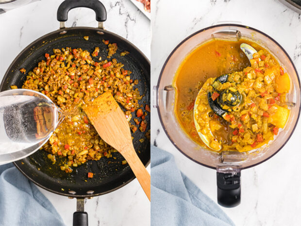 Make the mango curry sauce by sauteeing the vegetables and mangoes. Then puree them in a food processor or blender.