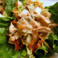 Thai Chicken Wraps + Tangy Peanut Sauce