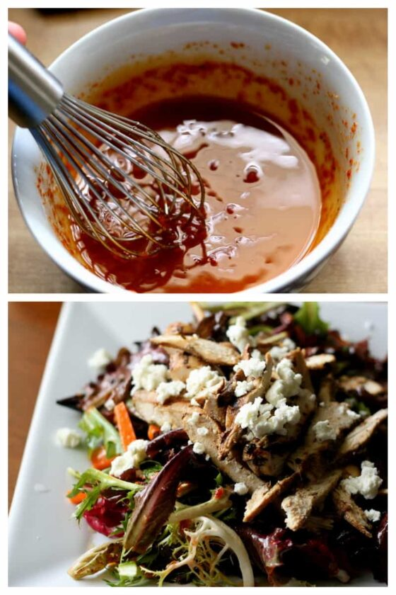 Balsamic Grilled Chicken Salad with Sun-Dried Tomato Vinaigrette | salad recipes | gluten-free recipes | keto recipes | grilled chicken | sun-dried tomatoes | perrysplate.com