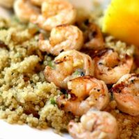 Grilled Garlic Shrimp and Quinoa with Garlic, Nuts, and Raisins