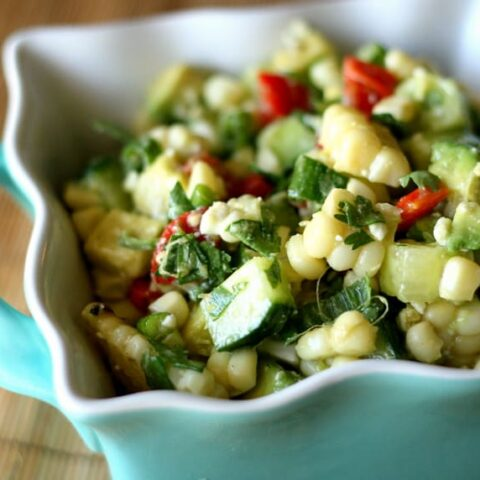 Grilled Corn Salad with Cucumber, Avocado, and Feta