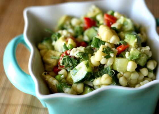 Grilled Corn Salad with Cucumber, Avocado, and Feta | gluten-free recipes | corn recipes | salad recipes | salad recipes | perrysplate.com