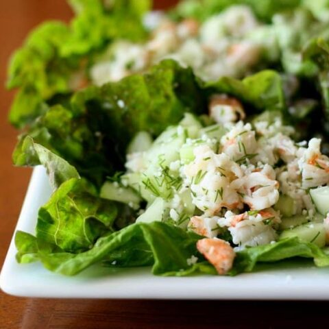 Shrimp and Cucumber Lettuce Wraps with Fresh Dill