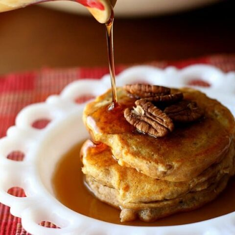Spiced Sweet Potato and Pecan Pancakes (or Waffles)