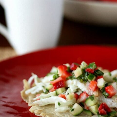 Fish Tacos with Strawberry-Cucumber Salsa