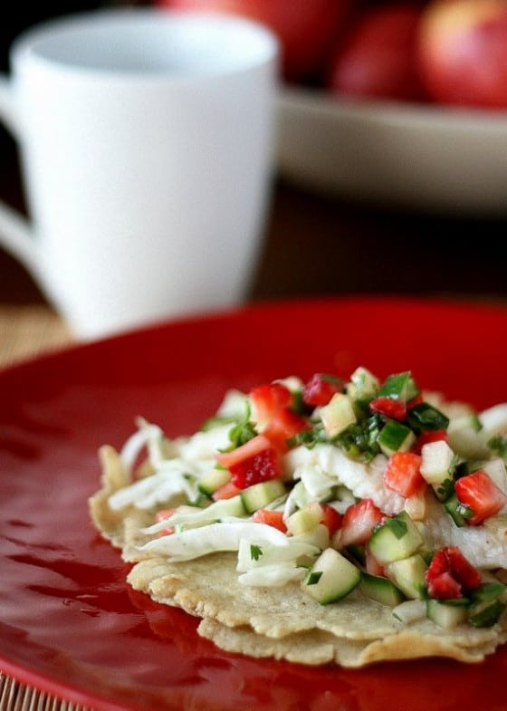 Fish Tacos with Strawberry-Cucumber Salsa - Perry's Plate