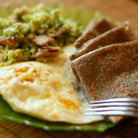 Buckwheat Crêpes with Fried Eggs + Sauteed Brussels Sprouts Hash