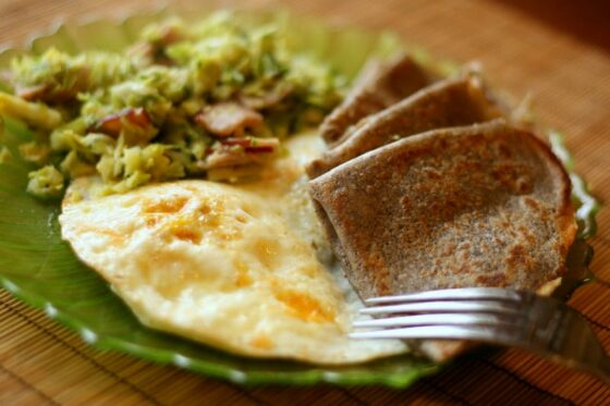 Buckwheat Crepes, Fried Eggs, and Brussels Sprout Hash | breakfast recipes | gluten-free recipes | brussels sprout recipes | perrysplate.com