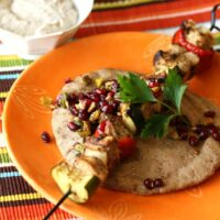 Turkish Chicken Kebabs with Pomegranate Relish and Tahini Yogurt