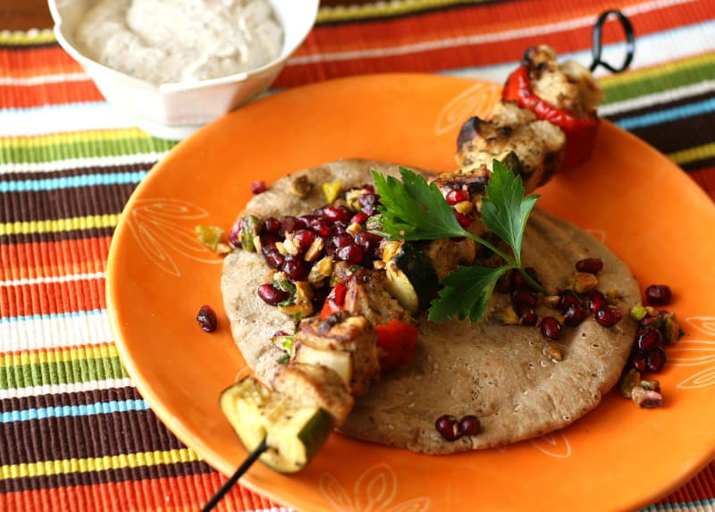 Turkish Chicken Kebabs With Pomegranate Relish Perrys Plate