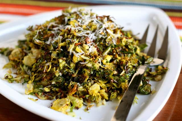 Roasted Shredded Brussels Sprouts | paleo recipes | roasted vegetable recipes | perrysplate.com