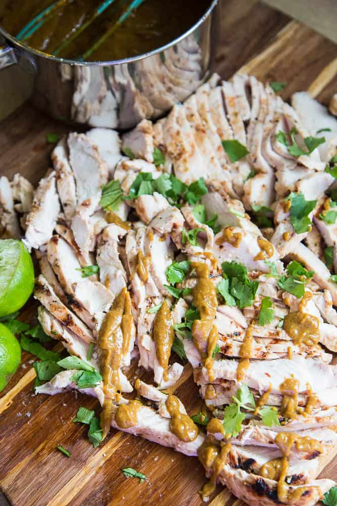 """Paleo Thai Grilled Chicken and """"Peanut"""" Sauce 
