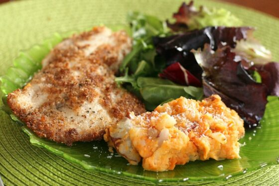 Coconut-Almond Crusted Fish with Tropical Sweets & Reds Mash - Perry'...