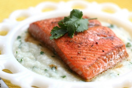 Roast Salmon with Sweet Chipotle Glaze and Hominy Puree | salmon recipes | fish recipes | gluten-free recipes | quick weeknight recipes | perrysplate.com