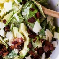 Avocado Bacon Parmesan Salad with Tangy Avocado Dressing