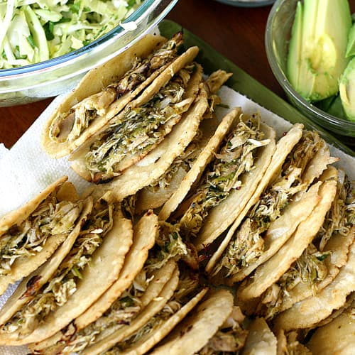 Crispy Shredded Chicken Tacos, Two Ways | taco recipes | chicken recipes | Cinco de Mayo recipes | gluten-free recipes | homemade corn tortillas | perrysplate.com