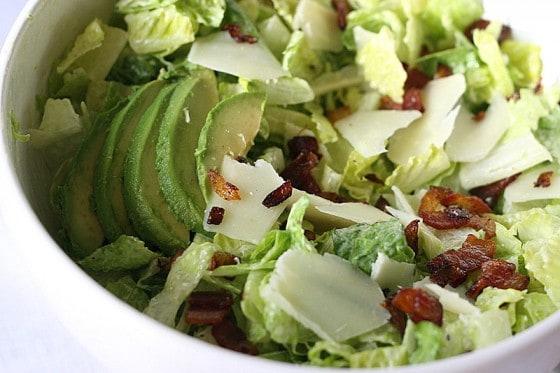 Avocado Bacon Parmesan Salad with Tangy Avocado Dressing | gluten-free recipes | salad recipes | bacon recipes | avocado dressing recipe | perrysplate.com