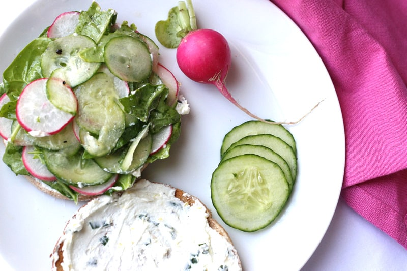 Cucumber & Radish Sandwich with Goat Cheese Spread - Perry's Plate