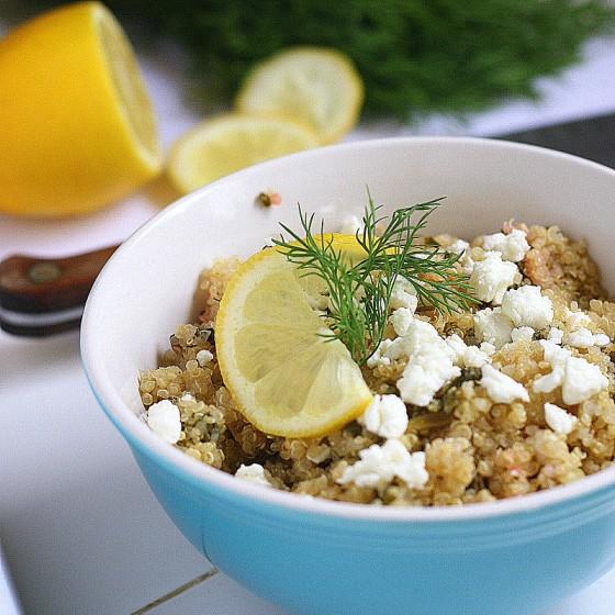 Greens & Lemon Quinoa Salad | quinoa recipes | gluten-free recipes | salad recipes | kale recipes | perrysplate.com