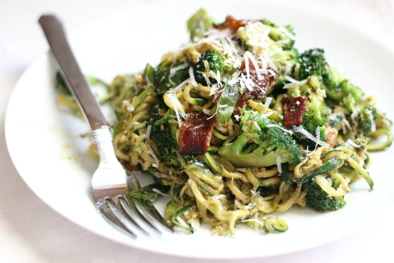 Pesto Zucchini Noodles with Broccoli and Bacon - Perry's Plate