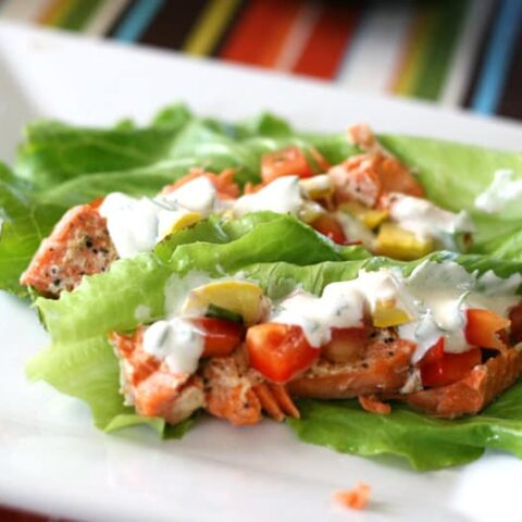 Creole Salmon Lettuce Wraps with Grilled Squash-o de Gallo