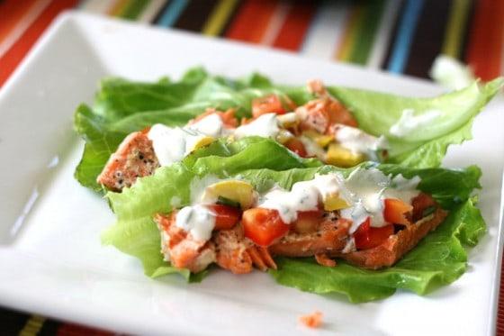 Creole Salmon Lettuce Wraps with Squash de Gallo | salmon recipes | gluten-free recipes | lettuce wrap recipes | squash recipes | perrysplate.com