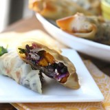 Spicy Butternut and Black Bean Egg Rolls with Citrus Avocado Cream -- www.PerrysPlate.com