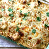 Stacked Chicken & Zucchini Enchiladas with Creamy Green Chile Sauce -- www.PerrysPlate.com
