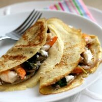 Savory Crepes with Shrimp, Mushrooms & Goat Cheese