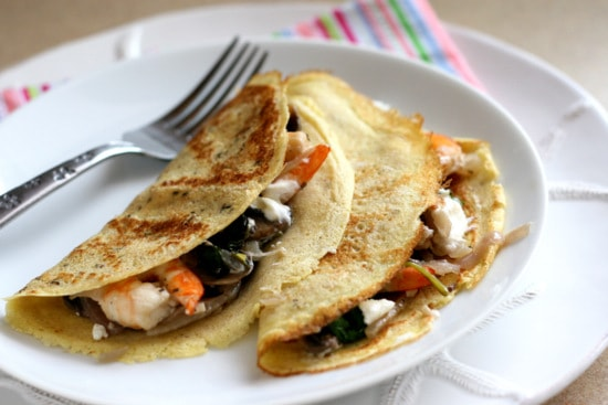 Gluten-Free Crepes with Shrimp, Mushrooms, and Goat Cheese | brunch recipes | gluten-free recipes | shrimp recipes | mushroom recipes | perrysplate.com