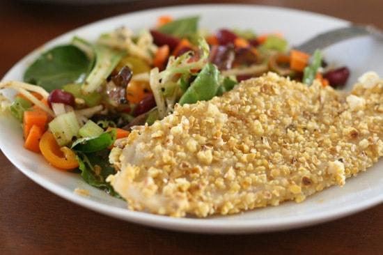 Popcorn-Crusted Fish + Salad in a Jar | gluten-free recipes | fish recipes | perrysplate.com