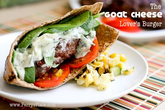 The Ultimate Goat Cheese Burger | burger recipes | goat cheese recipes | grilling recipes | ground beef recipes | perrysplate.com