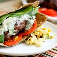 Goat Cheese-Stuffed Burger with Tangy Goat Cheese-Cucumber Dressing