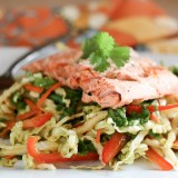 Asian Foil-Packet Salmon + Napa Cabbage Salad - www.PerrysPlate.com