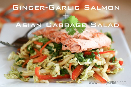 Asian Salmon and Cabbage Salad | paleo recipes | salmon recipes | gluten-free recipes | grilling recipes | cabbage recipes | perrysplate.com