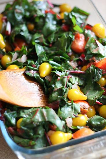 Tomato and Chard Cobbler   vegetarian recipes   gluten-free recipes   tomato recipes   summertime recipes   perrysplate.com