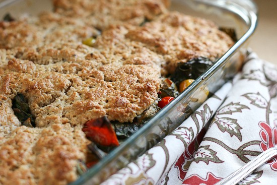 Tomato and Chard Cobbler | vegetarian recipes | gluten-free recipes | tomato recipes | summertime recipes | perrysplate.com