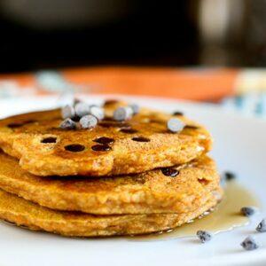 Gluten-Free Pumpkin Chocolate Chip Pancakes -- www.PerrysPlate.com