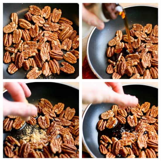 Make these 5-Minute Maple-Ginger Glazed Pecans and throw them on a salad or serve them as a quick little treat at a party! | pecan recipes | paleo recipes | salad toppings | - www.PerrysPlate.com