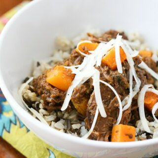 Slow Cooked Pot Roast with Butternut Squash and Poblanos - www.PerrysPlate.com