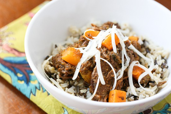 Leftover Pot Roast with Butternut Squash and Poblanos (slow cooker!) - www.PerrysPlate.com