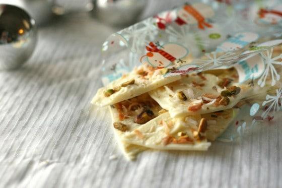 White Chocolate Coconut Pistachio Bark - www.PerrysPlate.com