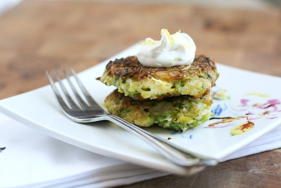 Leek and Brussels Sprout Fritters (Paleo) - www.PerrysPlate.com