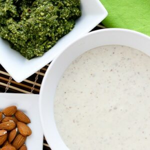 Garlic-Almond Soup with Basil-Almond Pesto