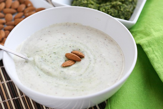 Garlic-Almond Soup with Basil-Almond Pesto3