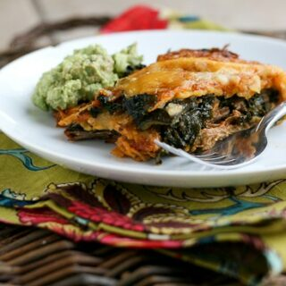 Leftover Shredded Beef and Kale Stacked Enchiladas