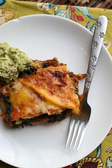 If you have leftover shredded beef, use it in these Shredded Beef, Poblano, and Kale Stacked Enchiladas! Yes, stacked. Rolling enchiladas is for suckers. | perrysplate.com