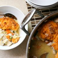 Chicken Pot Pie with Sweet Potato Biscuits