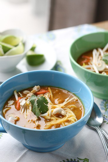 Thai Coconut Curry Soup (Chicken Khao Soi) made paleo and Whole30 friendly! | perrysplate.com